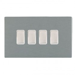 Hamilton Sheer CFX Satin Steel 4 Gang Multi way Touch Master Trailing Edge with White Insert