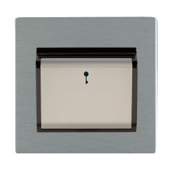 Hamilton Sheer CFX Satin Steel 1 Gang On/Off 10A Card Switch with Blue LED Locator with Black Insert