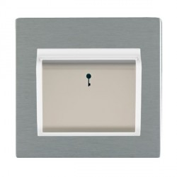 Hamilton Sheer CFX Satin Steel 1 Gang On/Off 10A Card Switch with Blue LED Locator with White Insert