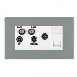 Hamilton Sheer CFX Satin Steel TV+FM+SAT+SAT (DAB Compatible)+TV+TCS (DAB Compatible) with White Insert