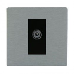 Hamilton Sheer CFX Satin Steel 1 Gang Digital Satellite with Black Insert