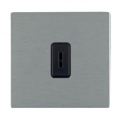 Hamilton Sheer CFX Satin Steel 1 Gang 2 Way Key Switch with Black Insert