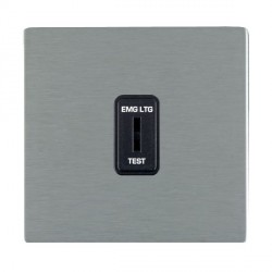 Hamilton Sheer CFX Satin Steel 1 Gang 2 Way Key Switch 'EMG LTG TEST' with Black Insert