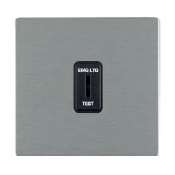Hamilton Sheer CFX Satin Steel 1 Gang 2 Way Key Switch 'EMG LTG TEST' with Black Insert