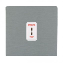 Hamilton Sheer CFX Satin Steel 1 Gang 2 Way Key Switch 'EMG LTG TEST' with White Insert