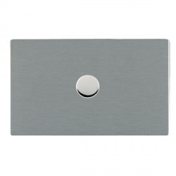 Hamilton Sheer CFX Satin Steel Push On/Off 1000W Dimmer 1 Gang 2 way with Satin Steel Insert
