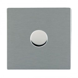 Hamilton Sheer CFX Satin Steel Push On/Off Dimmer 1 Gang Multi-way 250W/VA Trailing Edge with Satin Steel Insert