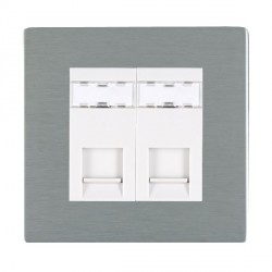 Hamilton Sheer CFX Satin Steel 2 Gang RJ12 Outlet Unshielded with White Insert