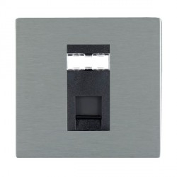 Hamilton Sheer CFX Satin Steel 1 Gang RJ45 Outlet Cat 5e Unshielded with Black Insert