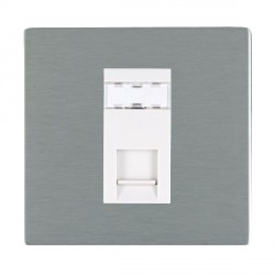 Hamilton Sheer CFX Satin Steel 1 Gang RJ45 Outlet Cat 5e Unshielded with White Insert