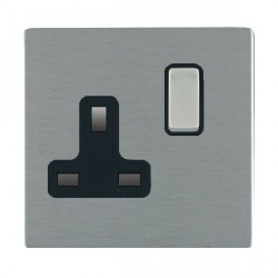 Hamilton Sheer CFX Satin Steel 1 Gang 13A Switched Socket - Double Pole with Black Insert