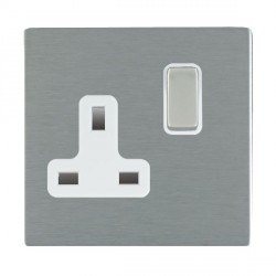 Hamilton Sheer CFX Satin Steel 1 Gang 13A Switched Socket - Double Pole with White Insert
