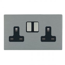 Hamilton Sheer CFX Satin Steel 2 Gang 13A Switched Socket - Double Pole with Black Insert