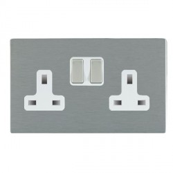 Hamilton Sheer CFX Satin Steel 2 Gang 13A Switched Socket - Double Pole with White Insert