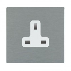 Hamilton Sheer CFX Satin Steel 1 Gang 13A Unswitched Socket with White Insert