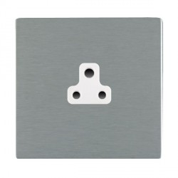 Hamilton Sheer CFX Satin Steel 1 Gang 2A Unswitched Socket with White Insert