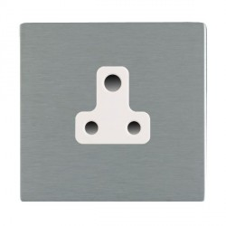 Hamilton Sheer CFX Satin Steel 1 Gang 5A Unswitched Socket with White Insert