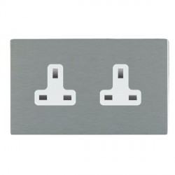 Hamilton Sheer CFX Satin Steel 2 Gang 13A Unswitched Socket with White Insert