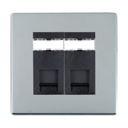 Hamilton Sheer CFX Bright Chrome 2 Gang RJ45 Outlet Cat 5e Unshielded with Black Insert
