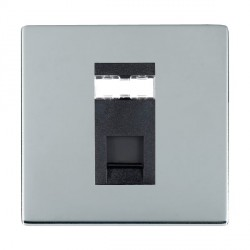 Hamilton Sheer CFX Bright Chrome 1 Gang RJ45 Outlet Cat 5e Unshielded with Black Insert
