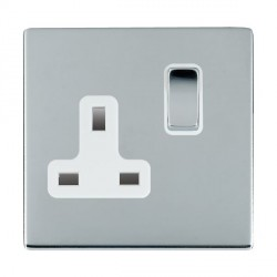Hamilton Sheer CFX Bright Chrome 1 Gang 13A Switched Socket - Double Pole with White Insert