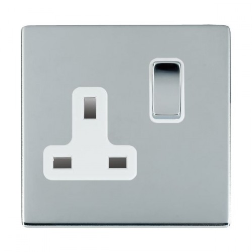 Sheer CFX Bright Chrome 1 Gang 13A Switched Socket - Double Pole