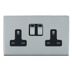 Hamilton Sheer CFX Bright Chrome 2 Gang 13A Switched Socket - Double Pole with Black Insert