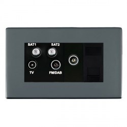Hamilton Sheer CFX Black Nickel TV+FM+SAT+SAT (DAB Compatible)+TV+TCS (DAB Compatible) with Black Insert