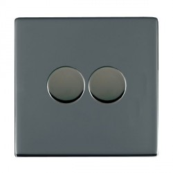 Hamilton Sheer CFX Black Nickel Push On/Off Dimmer 2 Gang Multi-way 250W/VA Trailing Edge with Black Nickel Insert