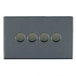 Hamilton Sheer CFX Black Nickel Push On/Off 400W Dimmer 4 Gang 2 way with Black Nickel Insert