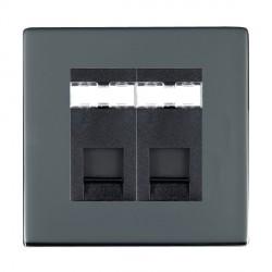Hamilton Sheer CFX Black Nickel 2 Gang RJ45 Outlet Cat 5e Unshielded with Black Insert