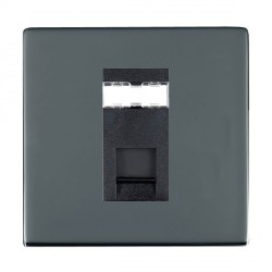 Hamilton Sheer CFX Black Nickel 1 Gang RJ45 Outlet Cat 5e Unshielded with Black Insert