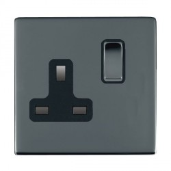 Hamilton Sheer CFX Black Nickel 1 Gang 13A Switched Socket - Double Pole with Black Insert