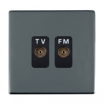 Hamilton Sheer CFX Black Nickel 2 Gang Isolated Television/FM 1in/2out with Black Insert