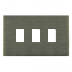 Hamilton Sheer CFX Grid Antique Brass 3 Gang Concealed Fix Grid Fix Aperture Plate with Grid
