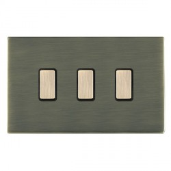Hamilton Sheer CFX Antique Brass 3 Gang Multi way Touch Master Trailing Edge with Black Insert