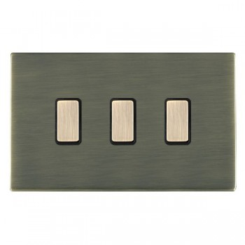 Hamilton Sheer CFX Antique Brass 3 Gang Multi way Touch Slave Trailing Edge with Black Insert