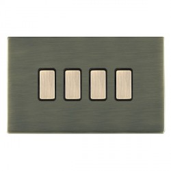 Hamilton Sheer CFX Antique Brass 4 Gang Multi way Touch Master Trailing Edge with Black Insert