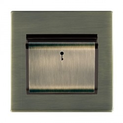 Hamilton Sheer CFX Antique Brass 1 Gang On/Off 10A Card Switch with Blue LED Locator with Black Insert