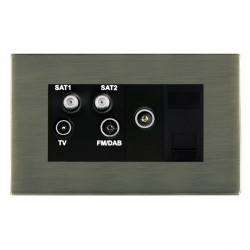 Hamilton Sheer CFX Antique Brass TV+FM+SAT+SAT (DAB Compatible)+TV+TCS (DAB Compatible) with Black Insert