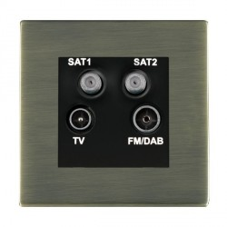 Hamilton Sheer CFX Antique Brass TV+FM+SAT+SAT (DAB Compatible) with Black Insert