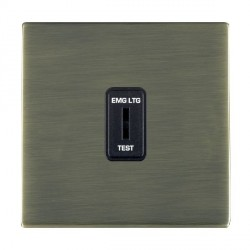 Hamilton Sheer CFX Antique Brass 1 Gang 2 Way Key Switch 'EMG LTG TEST' with Black Insert