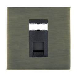 Hamilton Sheer CFX Antique Brass 1 Gang RJ12 Outlet Unshielded with Black Insert
