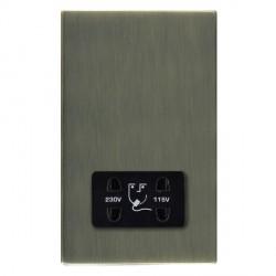 Hamilton Sheer CFX Antique Brass Shaver Socket Dual Voltage with Black Insert