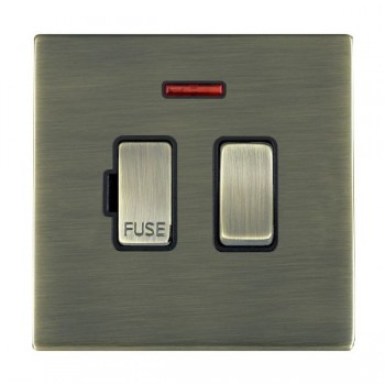 Hamilton Sheer CFX Antique Brass 1 Gang 13A Fused Spur, Double Pole + Neon with Black Insert