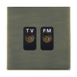 Hamilton Sheer CFX Antique Brass 2 Gang Isolated Television/FM 1in/2out with Black Insert