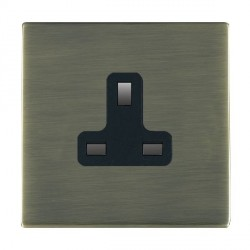 Hamilton Sheer CFX Antique Brass 1 Gang 13A Unswitched Socket with Black Insert