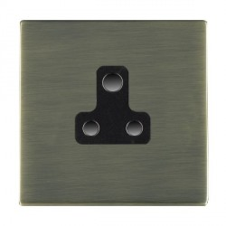 Hamilton Sheer CFX Antique Brass 1 Gang 5A Unswitched Socket with Black Insert