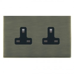 Hamilton Sheer CFX Antique Brass 2 Gang 13A Unswitched Socket with Black Insert