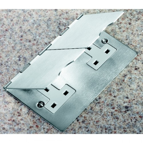 Sheer Floor Satin Steel 2 Gang 13A Unswitched Socket